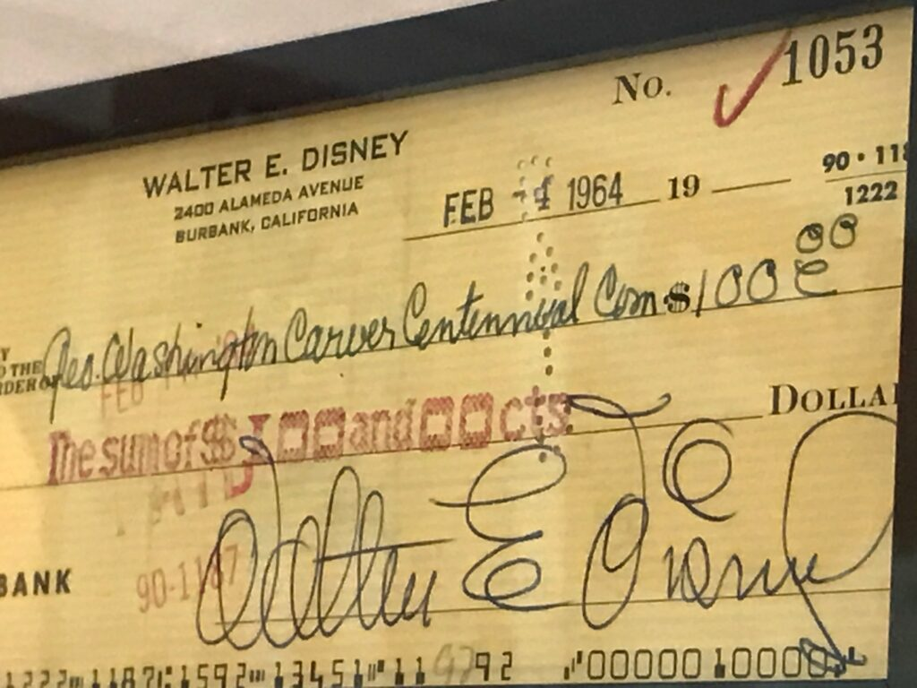 1964 check signed by Walt Disney