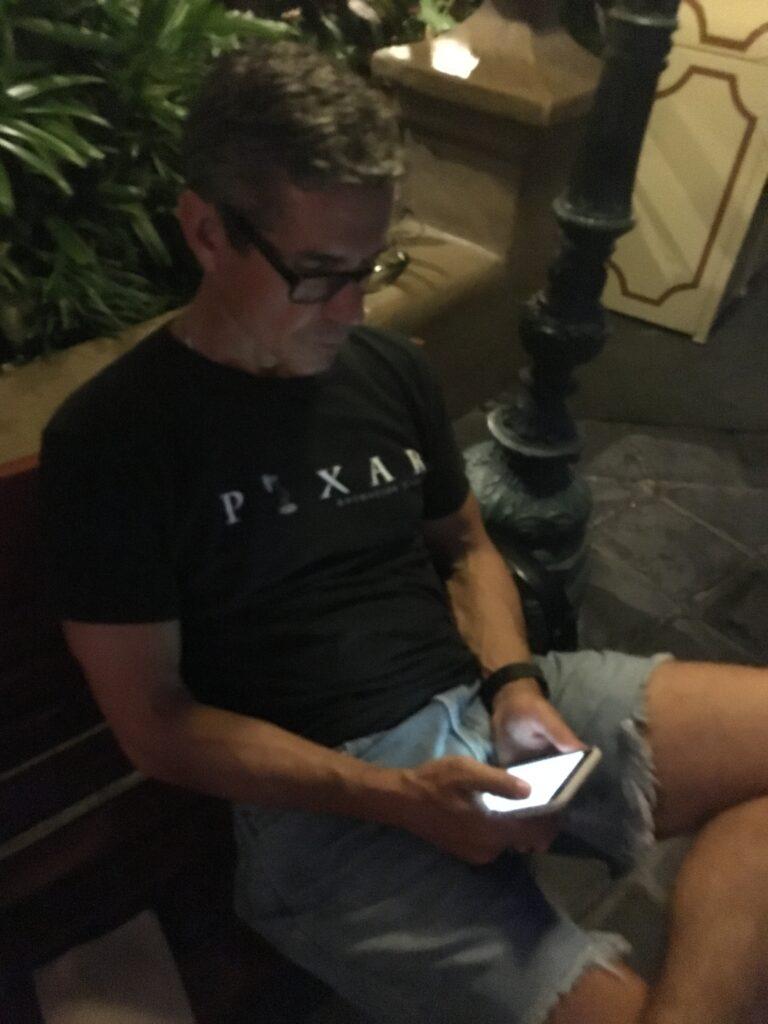Disney speaker Jeff noel writing on iPhone