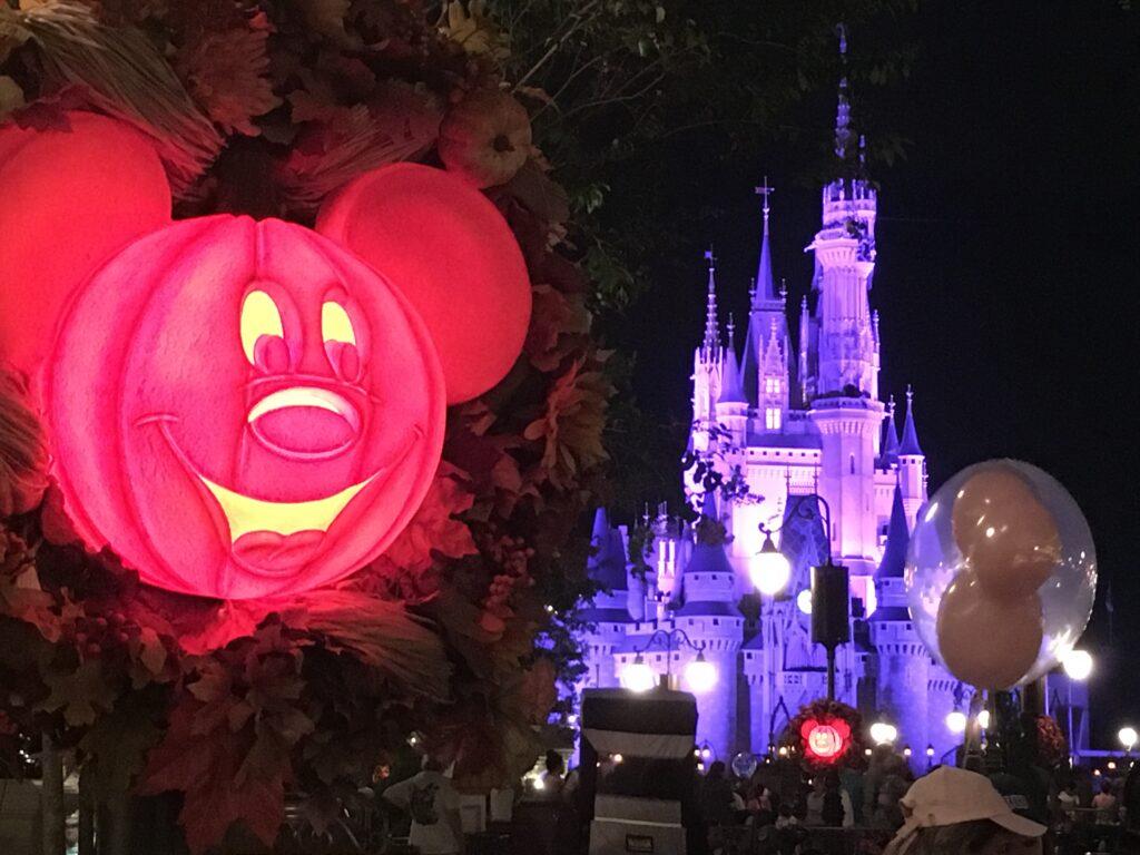 Mickey Mouse Halloween pumpkin light and Cinderella Castle