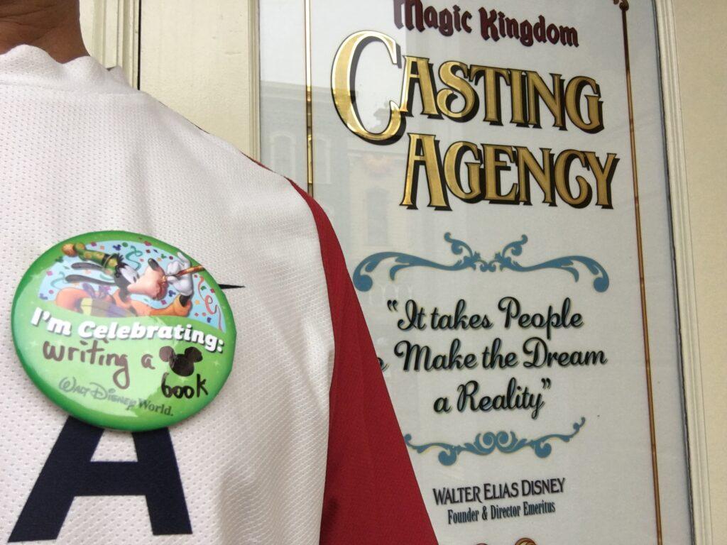 Disney button on man's shirt at Magic Kingdom