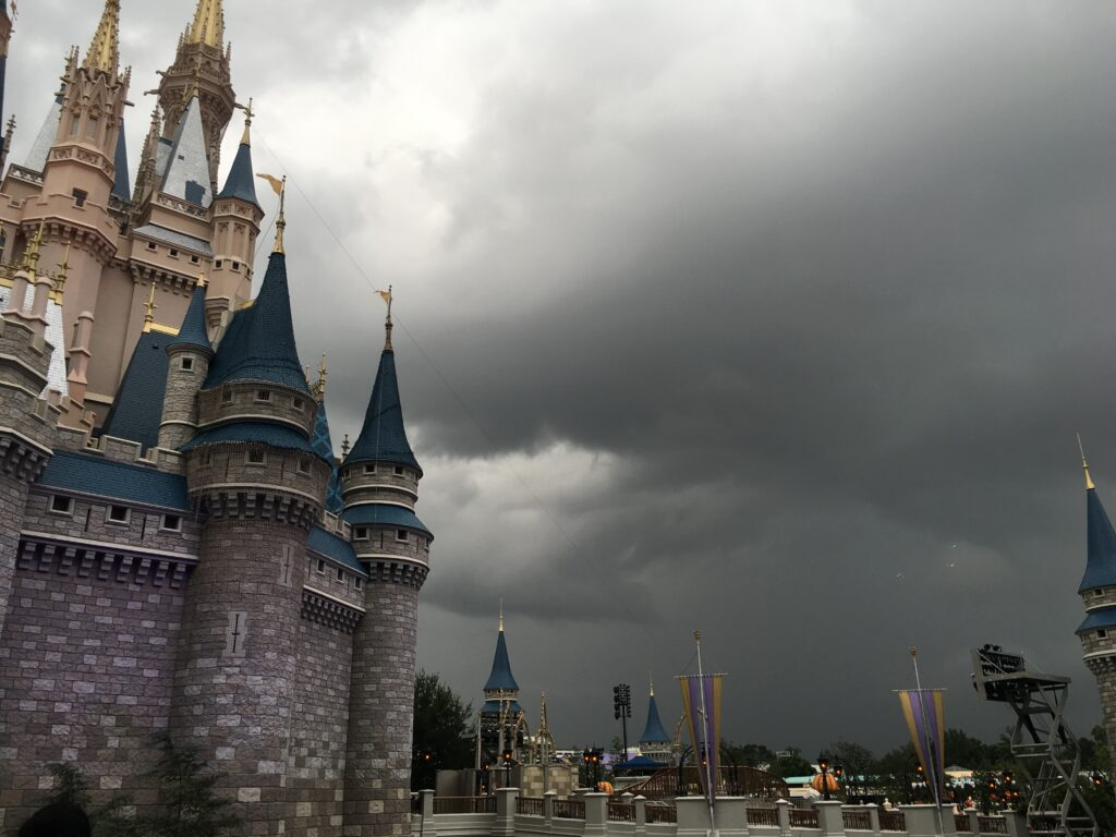 thunderstorm approaching Cinderella Castle