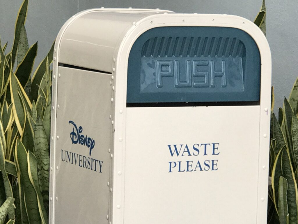 Disney University themed trash can
