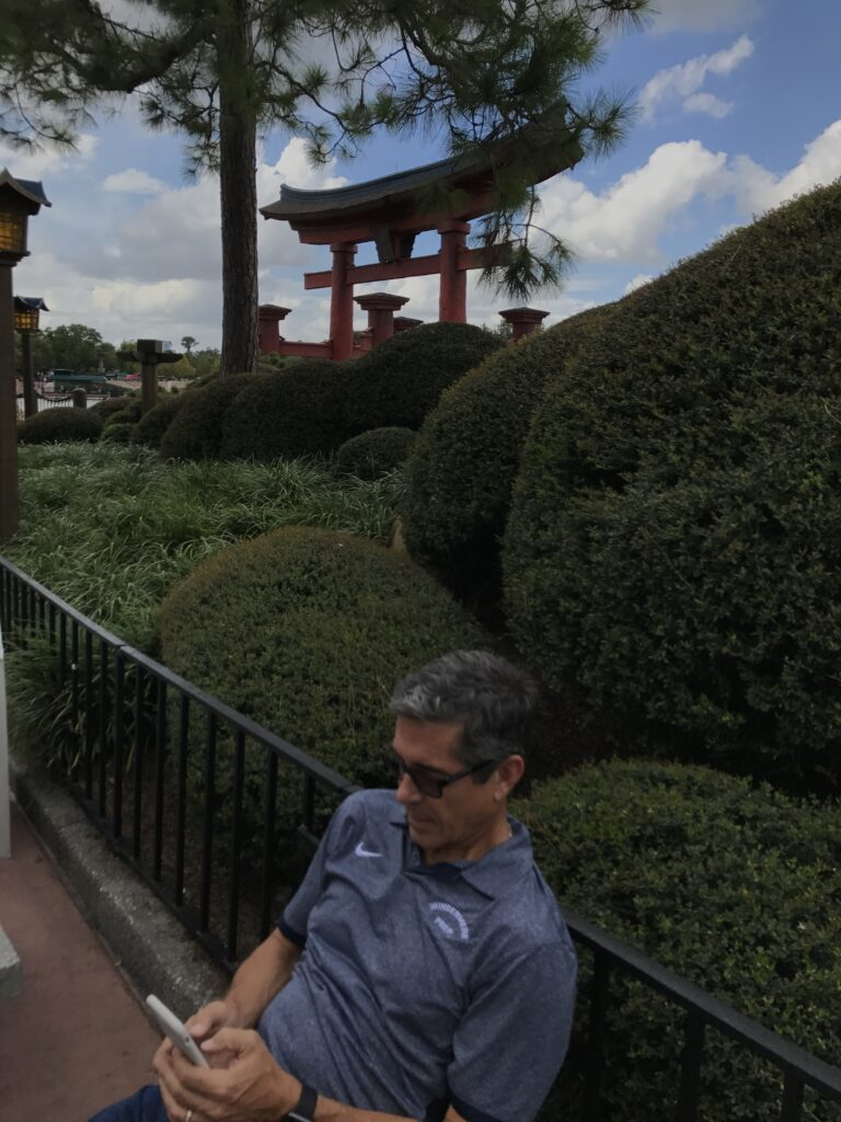 Disney author Jeff Noel at Epcot's Japan pavilion