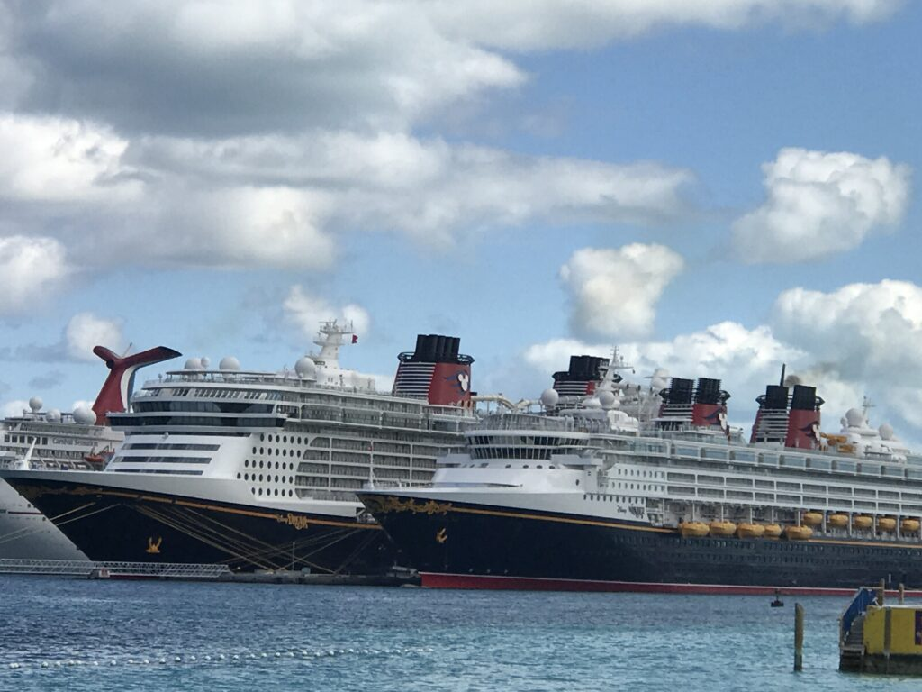 Two Disney Cruise ships docked