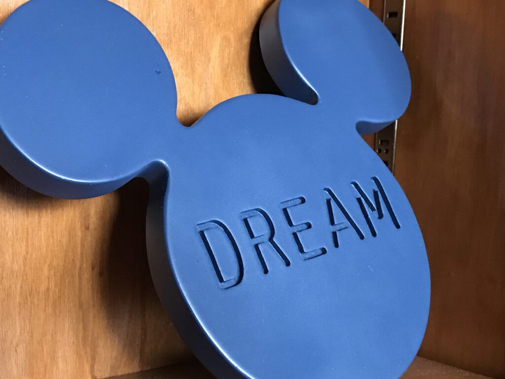 Mickey Mouse three circles with DREAM etched in