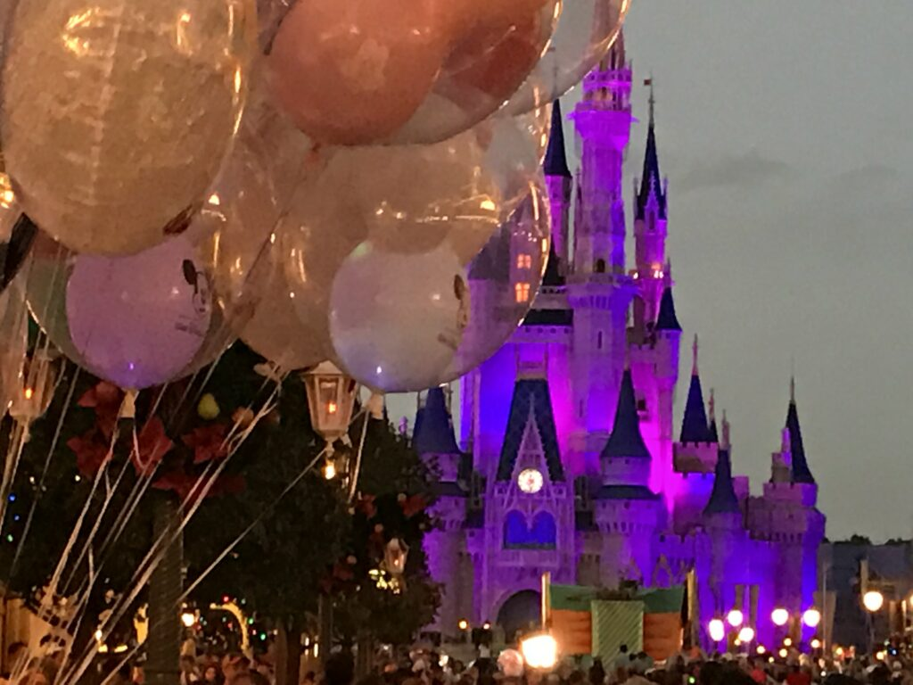 Disney balloons and Castle