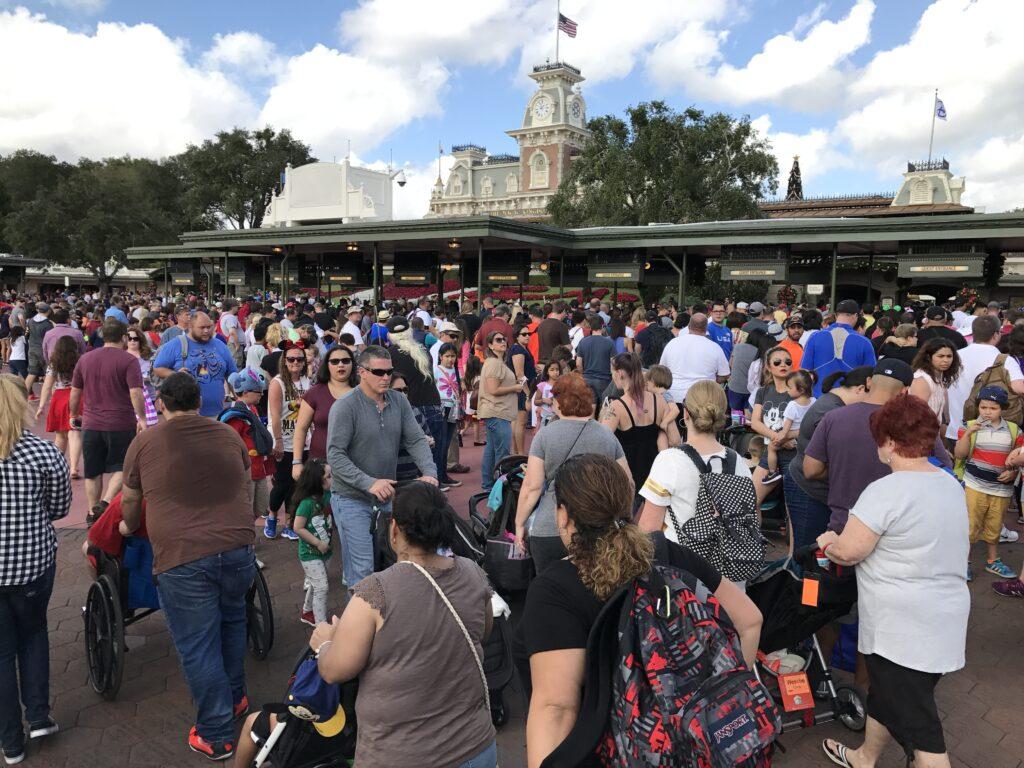 crowded Disney Park entrance