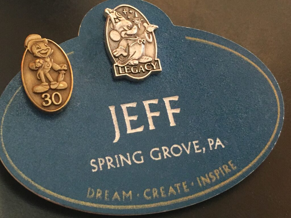 Walt Disney Legacy name tag with 30-year service pin